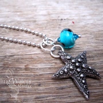 Wish Upon a Starfish - Artisan Lampwork Glass Necklace