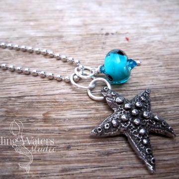 Wish Upon a Starfish - Artisan Lampwork Glass Necklace