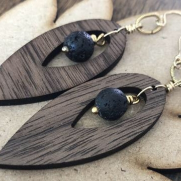 Golden Walnut Drop Artisan Earrings - 24k Gold Walnut Hardwood Essential Oil Aromatherapy Compatible Earrings with real Volcanic Lava Stones