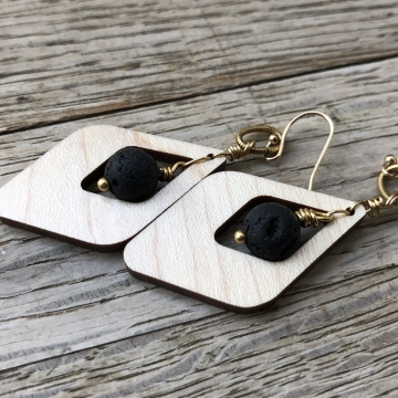 Maple Art Deco Dangle Artisan Earrings - 24k Gold Walnut Hardwood Essential Oil Aromatherapy Compatible Earrings with real Volcanic Lava Stones