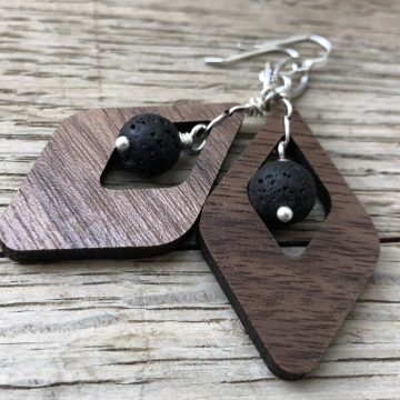 Walnut Art Deco Dangle Artisan Earrings - Sterling Silver and Walnut Hardwood Essential Oil Aromatherapy Compatible Earrings with real Volcanic Lava Stones
