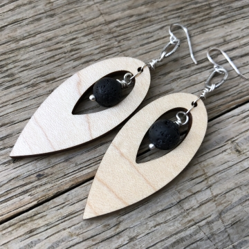 Silver Maple Drop Artisan Earrings - Sterling Silver Maple Hardwood Essential Oil Aromatherapy Compatible Earrings with real Volcanic Lava Stones