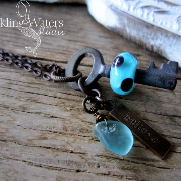 Turquoise Skeleton Key Necklace
