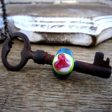 SW Studios - Glass Lampwork Bead Skeleton Key Necklace