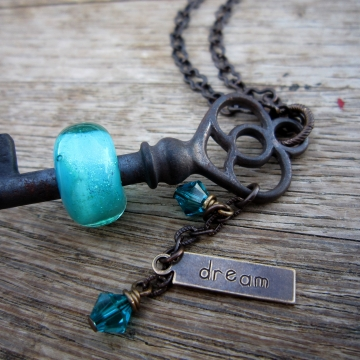 SW Studios - Glass Lampwork Bead Skeleton Key Necklace